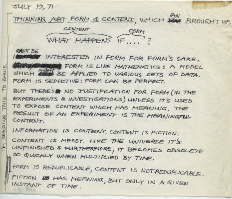 janehu:  Lee Lozano Thinking Abt Form & Content, 1971Pen on vellum paper