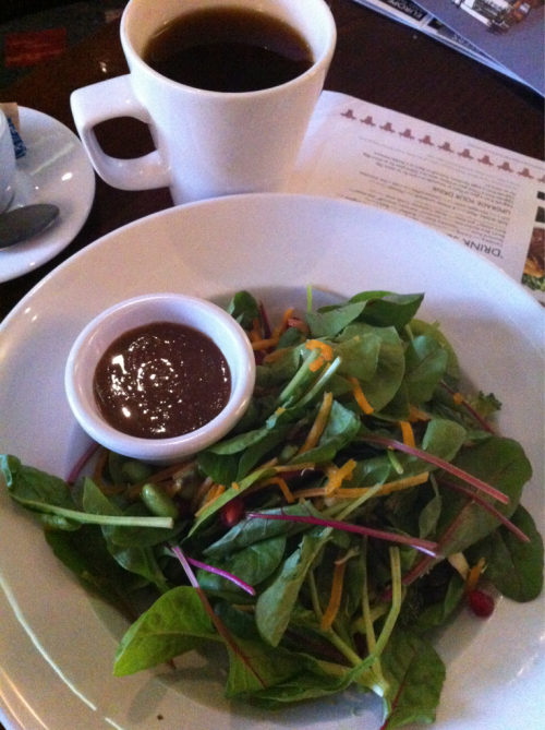 First meal in London… Superfood salad and tea (to keep warm after the rain).
