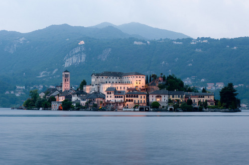 ysvoice:  | ♕ |  Isola St. Giulio at dusk - Lake Orta, Italy  | by © John Kelly