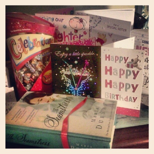 I'm a very happy birthday girl with lovely cards and treats :) (Taken with instagram)