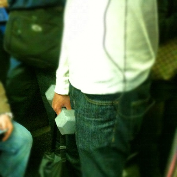 Weight lifting on the train #brooklyn #btrain  (Taken with instagram)