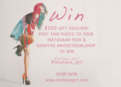 Got instagram?! Gotta be in it to win it! Gift Voucher for $150 for Mickey's Girl. 1. Follow mickeys_girl 2. re-post this picture on your IG feed 3. Include hashtag #mickeysgirlshop 4. visit www.mickeysgirl.com and start picking out your favorite items! ♥