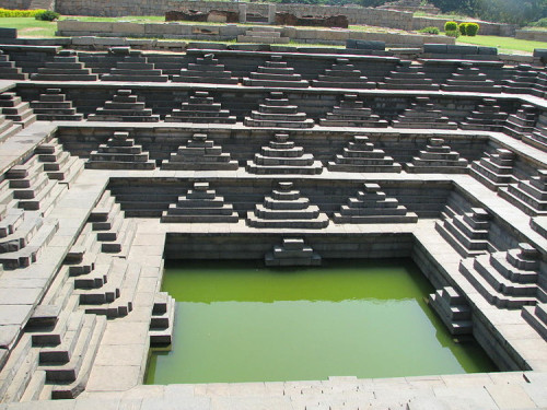 "cosmicportal:  ""The Stepped Bath"" or ""The Queen's bath"", Vijayanagara ruins (south-central India)"