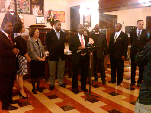 Members of the Black Clergy of Philadelphia and Vicinity announce details of free health fair at news conference, held at First African Baptist church,1608 Christian Street in South Philadelphia today. These events are free and open to the public and begin this Saturday, June 9, with information and presentations provided by the Einstein Healthcare Network and Screenings provided by Mercy Life and Mercy Home Health.  The fairs begin this Saturday at First African Baptist, located at 1608 Christian Street (9-12 Noon) and continue on the 16th (Tenth Memorial (1328 North 19th St.); the 23rd at Resurrection Baptist (5401 Lansdowne Ave) and Mt Zion Baptist of Germantown (41 West Rittenhouse St); and June 30th (Greater Faith Baptist, 4301 Baring St), Mt. Zion Baptist of Holmesburg (8101 Erdick Street) and Mt. Airy Church of God in Christ (6401 Ogontz Avenue).  This series will then culminate in a Healthcare Matters Extravaganza on Saturday, September 15, 2012 from 10 am to 2 pm at the Philadelphia Convention Center.