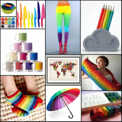 wanelo:  I couldn't help but share larkinandlarkin's awesome RAINBOW BRIGHTS collection! These super-duper colorful items will brighten up even the gloomiest of days! :)  -Daniela