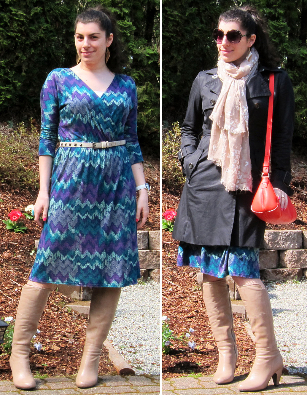 "04.04.2012 [wed] Worn to: work Dress: Old NavyBelt: VansTights: DKNY (gift)Boots: Miz Mooz ""Flynn"" (gift)Earrings, watch: TargetTrench: Banana Republic (via YLF swap)Scarf: Steve Madden (via Nordstrom)Purse: Kate SpadeShades: Forever 21  Thoughts:While I've put away nearly all of my winter items, these nude boots are going to stay out until the last possible second! I'm guessing around mid-April; the color could certainly be used all year but, regardless of color, tall boots just don't feel springy enough to me. I do see plenty of women wearing their tall boots all the way up until the start of summer around here because our springs are just ridiculously cold and wet. If it stays really cool I may leave them out until the end of the month, but we'll see how the weather goes.  Behind the outfit:In light of wearing some cooler weather items, today I wanted to wear this spring dress with my nude boots again while I can because I just love the combo! Not quite warm enough to skip the hose, so I wore my trusty nude fishnets. To lighten the look up I added an ivory studded belt and white watch, and there's a small peek of white camisole as well. I thought about a necklace, but I think I'mm starting to feel a bit off them after wearing so many pendants this past winter. So instead I put my hair up and went with long dangly gold earrings! (And because it's much colder than that sun may lead you to think, I of course needed a coat. To keep it light, I added my taupe scarf which picks up on the light boots and helps to bookend them against the dark coat/hair. And the bright orange purse is just fun ^^)"
