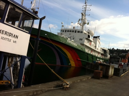 On Friday I will be boarding Greenpeace's ship the Esperanza for the first phase of its Save the Arctic tour this summer. Right now the Esperanza is in Seattle not so far from Shell's Arctic bound drill rig, the Kulluk.