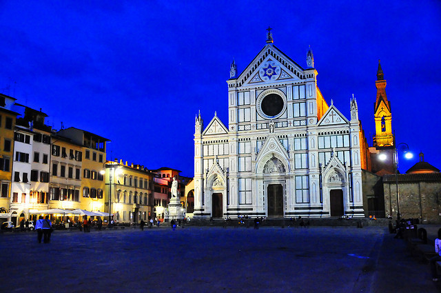 | ♕ |  Evening at Piazza Santa Croce - Florence  | by © Miguel Martí