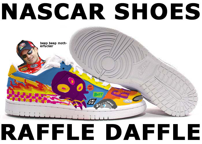 THE CREATIVE TEAM of R.B. and IAN JAY are having a SUPER COOL NASCAR SHOES RAFFLE just in time for Anthrocon 2012!! THE RULES: Head to the Devour Comics store and get a copy of our Eisner-nominated comic NASCAR SHOES between now and TUESDAY, JUNE 12.  By doing this you will be automatically entered in a RAFFLE to win a PAIR OF ACTUAL, WEARABLE NASCAR SHOES, artistically customized and doodled upon by R.B. and IAN JAY using only the FINEST-QUALITY Sharpie pens!  That's it! There is no third rule! For those not in the know, NASCAR SHOES (the comic) is a heartwarming tale about a poor little boy, a hazily-understood sporting event, and lots of dildoes. It is NOT A COMIC FOR CHILDREN, but if you are not a child yourself and enjoy funny things, it's definitely worth a look.