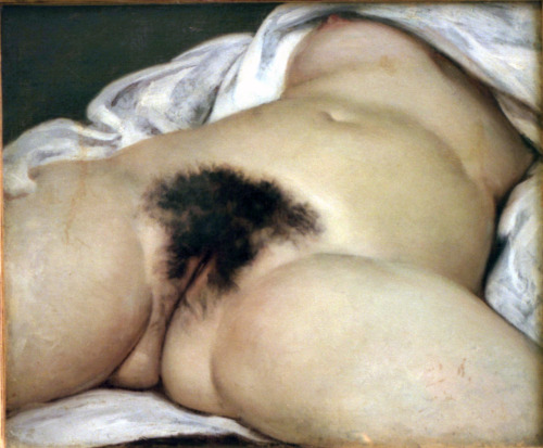 Gustave Courbet (1819-1877) L'Origine du Monde 1866 Courbet has got to be one of my top ten favorite artists… and I hate vaginas. Usually. The neat bit of trivia about this- according to historian Paul Johnson (and wikipedia), psychoanalyst Jacques Lacan purchased this painting at auction and had his stepbrother André Masson draw an abstracted sketch of the painting to hang in front of the more explicit Courbet. It was originally commissioned for a rich Turkish diplomat. Personally, I find the existence of Courbet's more extreme paintings more realistic, beautiful, and progressive than Edouard Manet (1832-1883), although Manet exhibited his Olympia (1863) at the Paris Salon— something Courbet could not have done with L'Origine du Monde. Regardless, I prefer Courbet. Though, apples and oranges I guess.