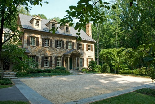 georgianadesign:  Stone home in Maryland with site planning by Plusen Landscape Architects.