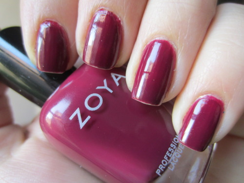 "zoya ""sophia"" i think this is definitely a fall color for me. this is the only type of wine red that i own and i definitely love this against my skin tone.  this is 2 coats but could do with a 3rd.  such a nice sophisticated red nail!"