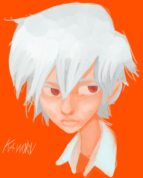 party-wolf:  i painted kaworu in some really wierd doll style