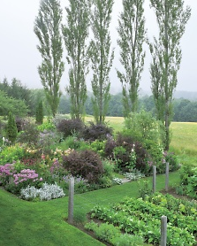 Bill Noble's weekend garden in the Upper Connecticut River Valley in Vermont, U.S. Divided between ornamental flowers & shrubs on one side and vegetables on the other, he feels he can manage the gardens well even though he's only there 2 days a week. Mr. Noble is the director of preservation for the Garden Conservancy.http://www.marthastewart.com/904671/weekend-country-garden
