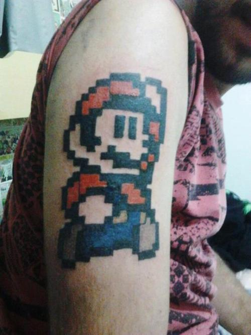 "fuckyeahtattoos:  ""Mario"" Tattoo by @Bianca Popim on @Yo! Tattoo & DreadlocksOficial Site - https://www.facebook.com/bianca.popim"