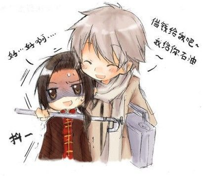 rekkuza:  Ivan: Come on, lend me some money, I'll give you oil~ Yao: Um… Okay… Feel free to add a more authentic source.