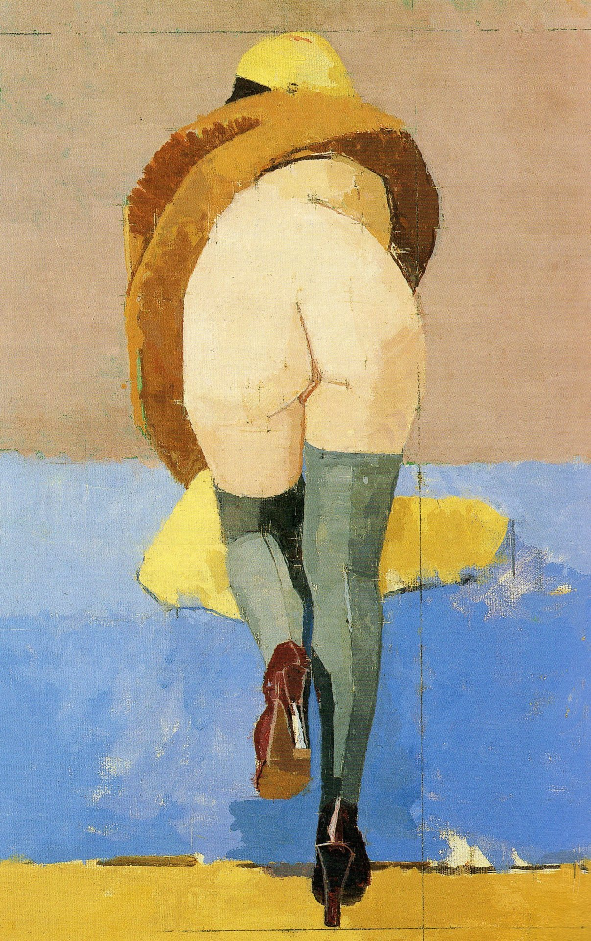 Euan Uglow, Model Climbing Stairs Rear End, 1995, Oil on Canvas, Marlborough Fine Art