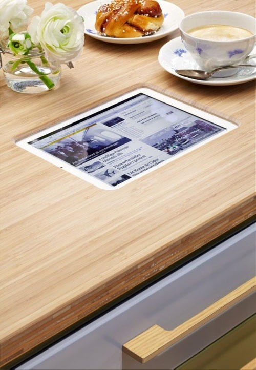 Perfect place for your iPad in the kitchen. Want this now.