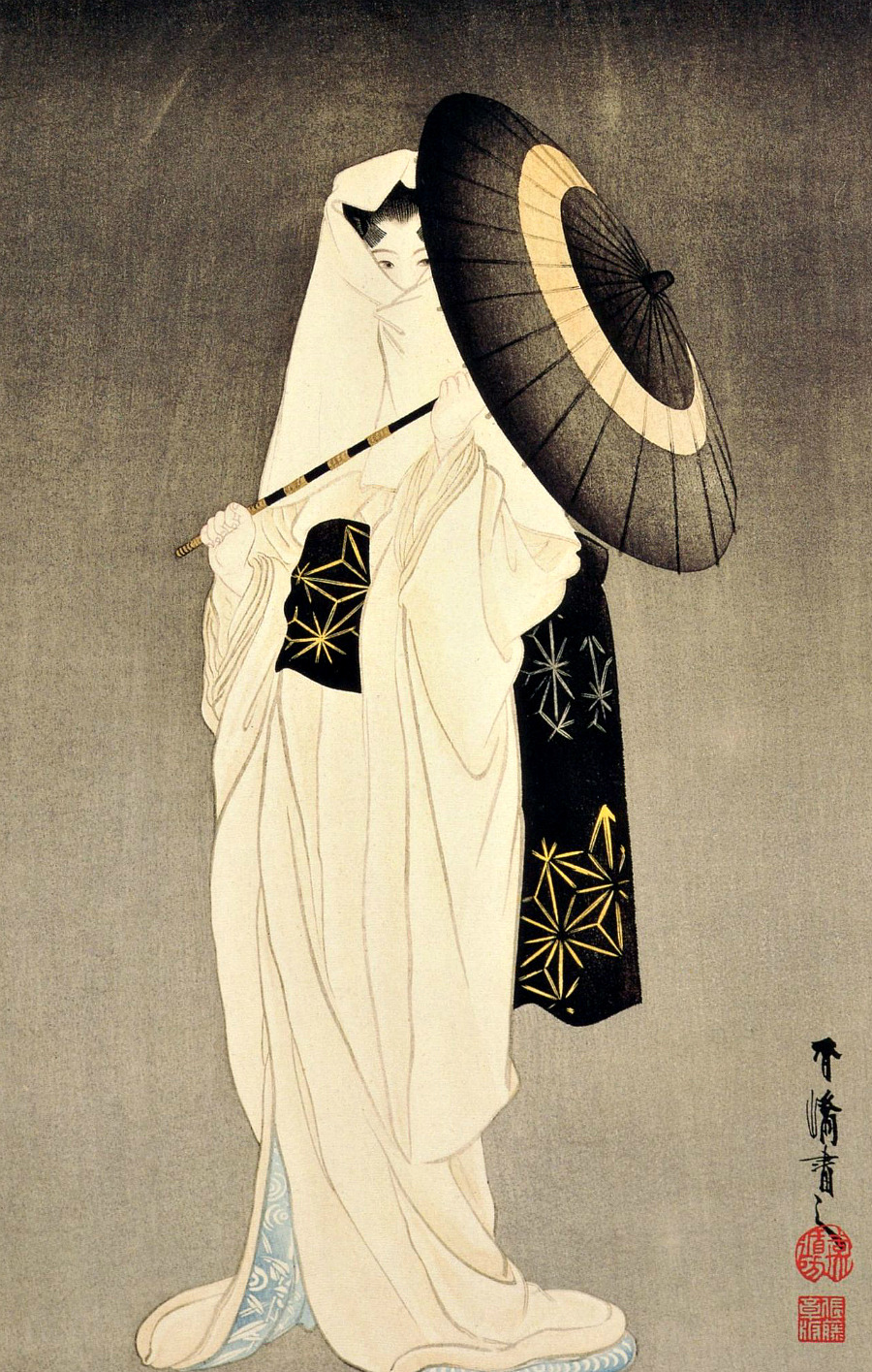 sombhatt:  The spirit of the heron maiden woodblock print by Taniguchi Kokyo (1864-1915), dated 1925