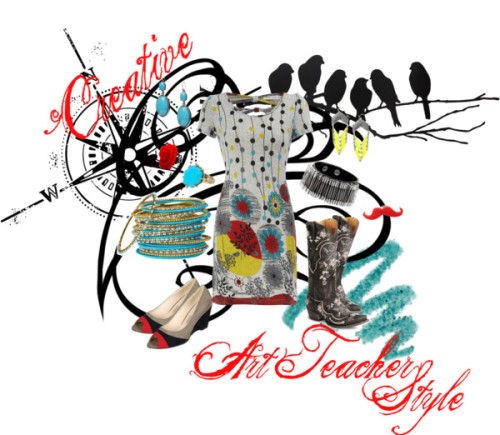 Art Teacher Style by ltaylor30 featuring floral dresses This collection represents the comfortable clothes an art teacher needs to wear while also representing the creative style they desire too! Plus, the entire collection if comprised of pieces costing $50 or less because teachers are always on a tight budge. Dorothy Perkins floral dress, $25Grey wedge sandals, $23Old Gringo western boots, $20Safety pin jewelry, $13Cara Accessories wrap bracelet, $34Kendra scott jewelry, $50Banana Republic drop earrings, $40Red ring, $14Plastic ring, $13Beaded jewelry, $10Yves Saint Laurent pencil eyeliner, $28Rockett St Georgelove Birds Wall Sticker – Black, $75