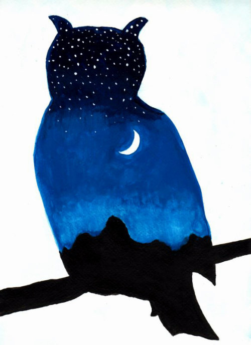 "uniquelyyew:  The owl represents the mystery of nighttime and the moon. He is as glorious and beautiful as the moon itself.This piece is done in watercolors and acrylics on thick professional grade watercolor paper. It measures 12.5"" long by 9"" wide. Original being sold on etsy, just follow the link: https://www.etsy.com/listing/101482179/owl-twilight-silhouette-original www.uniquelyyew.etsy.com"