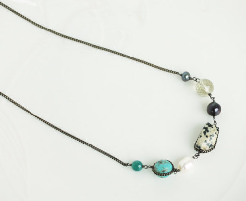 Mixed stones and pearl necklace - turquoise, pearl, yellow crystal, green onyx etc.