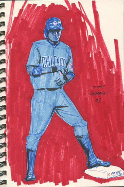 Sketch of Tony Campana for the Cubs' obliterating win tonight against the Brewers
