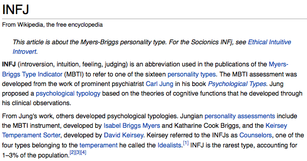 I just took the Myers-Briggs for kicks. I am an INFJ, the rarest of all flowers.
