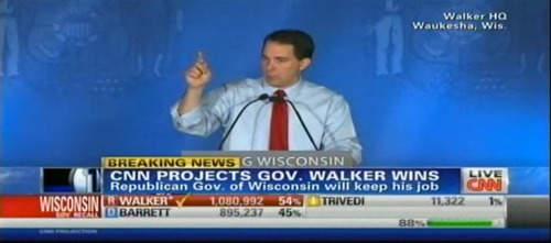"Scott Walker on winning his recall election: ""Voters really do want leaders who will stand up and make the tough decisions."" Earlier: Tom Barrett conceded. In a phone call with Barrett, Walker claimed he was willing to work with Barrett to fixing the issues. Surprisingly, the governor sounds like he's taking a conciliatory tone — offering brats and burgers to members of the legislature. EDIT: John King: ""He's a national hero to the Republican Party."""