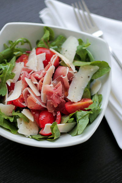 Parma Ham, Parmigiano Cheese and Cherry Tomatoes by Salad Pride on Flickr.
