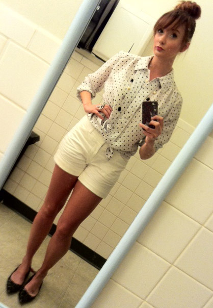 From The Bathroom Mirror: Look of the Day. June 4, 2012.  Kicked in the Shins  White & Black button down (Value Village, .99). White shorts (Target, $25). Black flats (Mom, gift). Black & Lilac jeweled necklace (Amy D, gift).  Estimated Cost of Kicked in the Shins Look: $25.99 The sock bun is the most ingenious creation ever. Cut up sock, Teased hair, and lots of bobby pins cut about 20 minutes out of my prep time in the morning.
