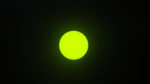 The Venus transit as seen from Owensboro, KY; photographed by a friend.