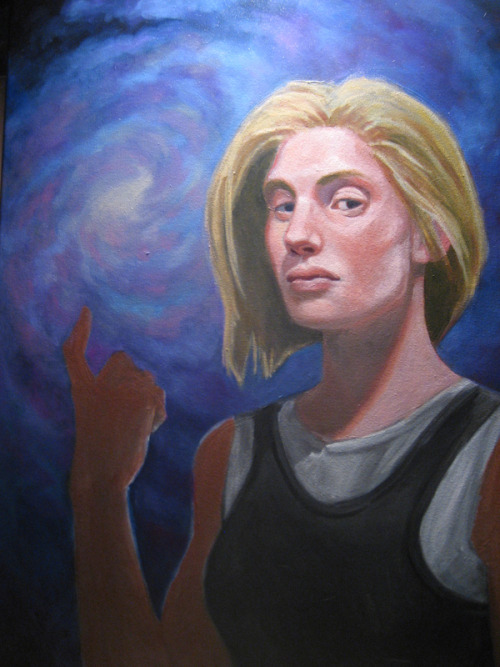Fourth sitting on my Kara Thrace painting!  Starting on the star field.  Learning a lot with this one, which is a good thing ;)