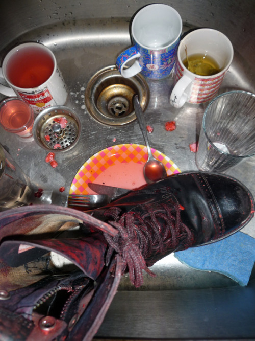 Still life with bloody boot