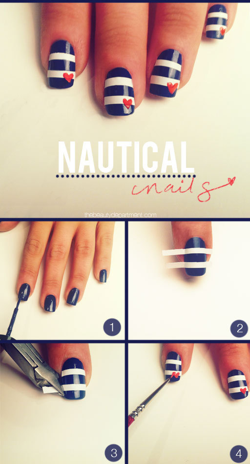 This is still a cool DIY, just with beauty rather than crafts! I love the nautical style and can never get enough stripes, so i love this one!   Here's the tutorial: http://totallyloveit.com/bright-week-nautical-manicure/