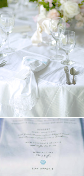 Dinner menus silkscreened on napkins as seen at my wedding and featured on PinTV.  Photos by Daniel Nystedt