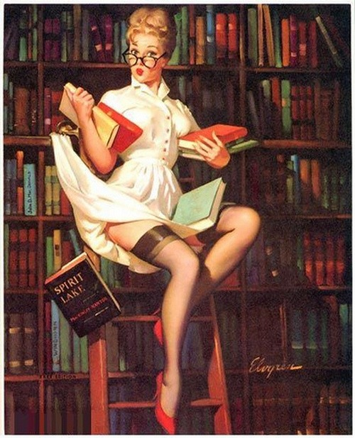 Hold Everything (1962). Gil Elvgren (1914-1980). Publisher: Brown & Bigelow. Librarian? The distinguishing mark of Elvgren's pin-ups compared with those of his contemporaries is that the Elvgren Girls looked like real people. Elvgren Girls had personality and zest; they were lively, friendly beauties brimming with enthusiasm. They were sweet-faced, but also generously endowed by nature. They could easily kindle a twinkle in anyone's eye and often had one in their own. For more than thirty years, from the 1940s to the 1960s, they epitomized the All American Girl.