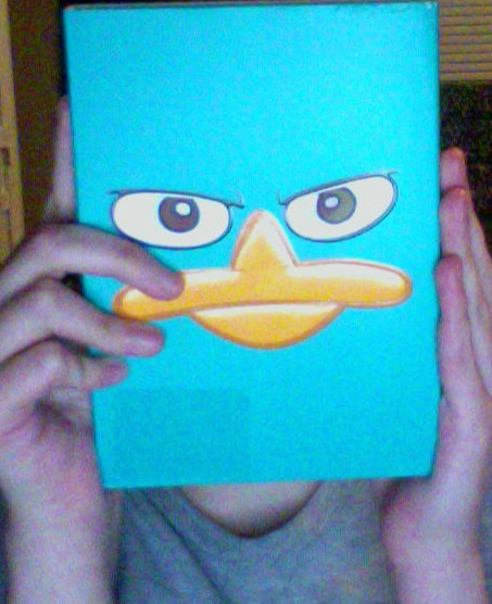 playtp:  skysailour:  playtp:  skysailour:  playtp:  I got The Perry Files today! 8D Coolest boxart ever… I meant to just put it in front of my face in the picture to cover it up but in retrospect this is a hilarious shot. XDDDD It's a nice set, all Widescreen. The activity kit is a bit underwhelming in size but I like it. There was a coupon for a discount if you also bought Across the Second Dimension, but alas that did not fit my budget. 8'(  WAIT UNTIL YOU GET TO DISCOVER THE DVD IT IS SO MUCH FUN YOU WOULDN'T BELIEVE  I'm not totally sure what you mean. %D;  IT is 5 hours of SOLID phineas and ferb GOODNESS and has some REALLY FANTASTIC EPISODES that I haven't seen in a long time also ACTITVITY PACK and awesome box art that you already noticed  Ohhhhhhhhhh!  Yeah, I already watched everything. As soon as I got home I stole the TV as quickly as I could. 8D It is indeed a great set. I need to put up that mood chart on my file cabinet or something.