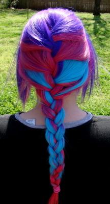 pink hair blue hair colorful hair