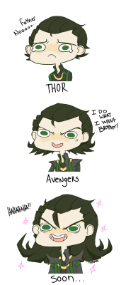 under-base:  tadtones:  The Progression of Loki.  #He really grows on you doesn't he?
