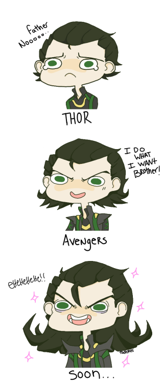 hoursago:  tadtones:  The Progression of Loki.