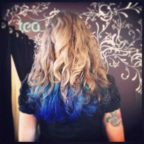 My mermaid blue dip dye ombré hair