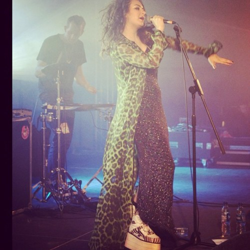 Charli XCX looking gangsta on tour in a Katie Eary shirt dress and #Buffalos (Taken with instagram)