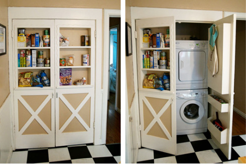 stashvault:  Built-in bookshelf doors conceal laundry area