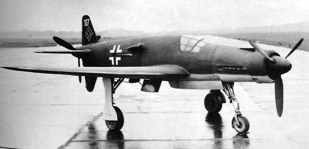 "Dornier Do 335 The Dornier Do 335 Pfeil (""Arrow"") was a World War II heavy fighter built by the Dornier company. The two-seater trainer version was also called Ameisenbär (""anteater""). The Pfeil's performance was much better than other twin-engine designs due to its unique ""push-pull"" layout and the much lower drag of the in-line alignment of the two engines. The Luftwaffe was desperate to get the design into operational use, but delays in engine deliveries meant only a handful were delivered before the war ended.  (via, via)"