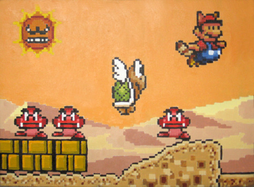 "We can all agree Super Mario 3 is an undeniable classic and defines the 8bit era but seeing Mario redone in 16bit glory still makes me smile. I remember renting Super Mario All Stars and being blown away especially when that damn sun chases you in the infamous desert level, so yeah heres a painting of it. 18""x24"""