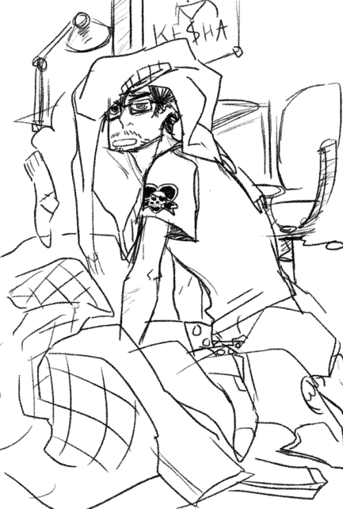 hackedmotionsensors:  Same fic. But here's Tony in THE PIT aka Thor's bed.