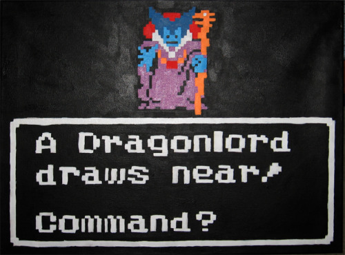 Dragon Warrior was my introduction to the RPG genre and its all thanks to the giveaway promotion Nintendo Power did back in 1990 (THANKS NINTENDO POWER!) My brother and I along with our friends battled countless enemies until we came face to face with the derpy looking Dragonlord and laughed until we saw his true form, regardless enjoy the painting. 18'x24""