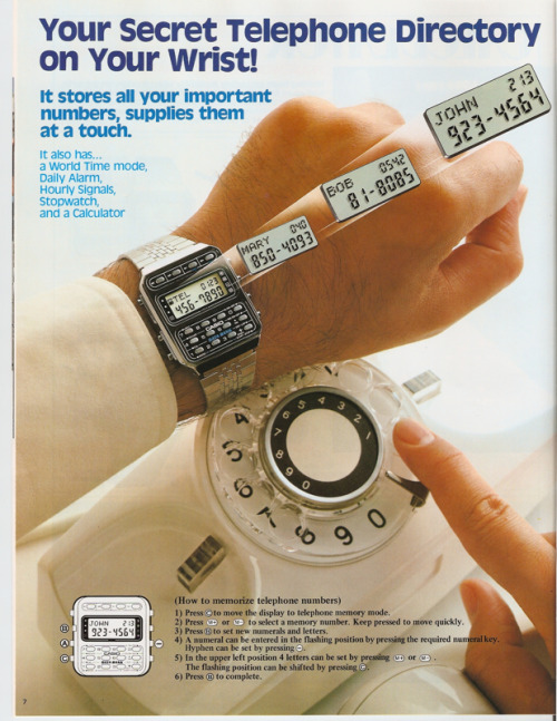 I wore some iteration of a Casio Calculator or DataBank from 1978 until 1990!  vintage69br:  1984