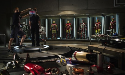 """Iron Man 3″ officially heads into production, first photo released. The superhero flick is headed to theaters May 3, 2013."